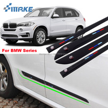 цены smRKE Car-styling 4pcs High Quality Brand New Side Doors Rubber Bumper Protector Guard Scratch Sticker Trim For BMW Vehicle