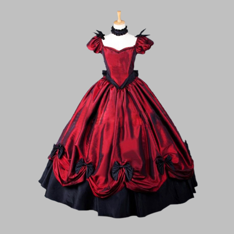 Gothic Red Civil War Southern Belle Ball Gown Historical Halloween ...