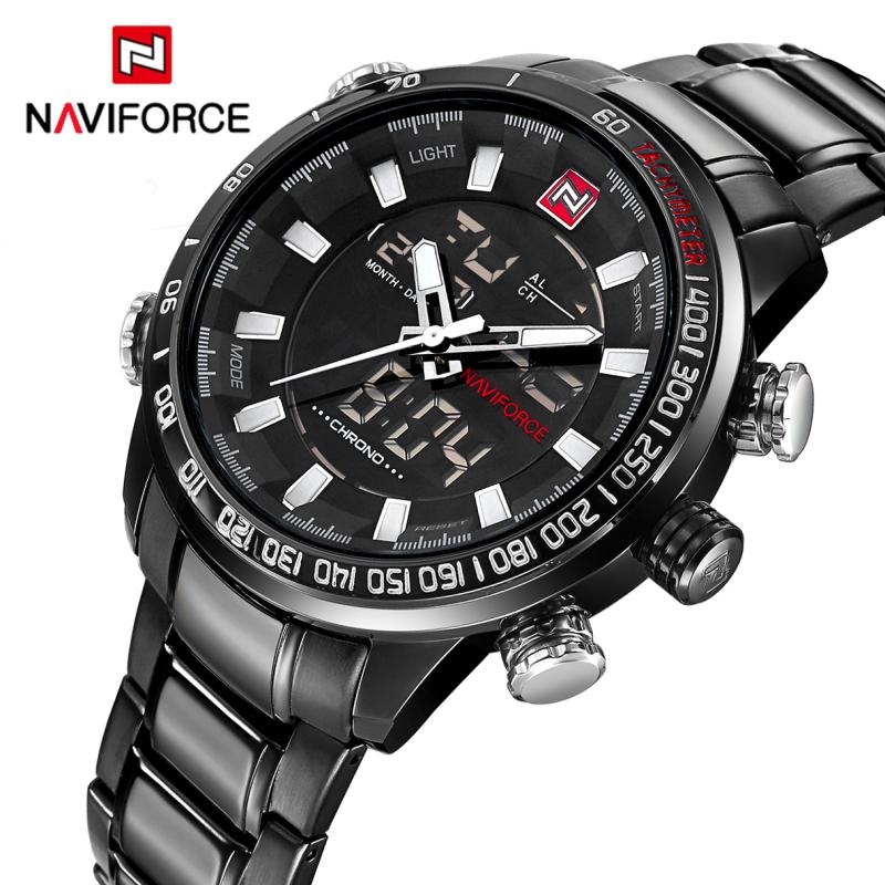 Prix pour Montres Hommes Naviforce Marque Mode Hommes Sport Militaire Montres Hommes de Quartz LED Numérique Heure Horloge Hommes Pleine Bracelet En Acier montre