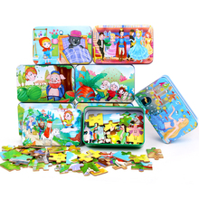 Free shipping Kids 30PCS wooden jigsaw puzzle Toy, Animal Cartoon Animation Tin Box, Wooden Jigsaw Puzzle toys of children