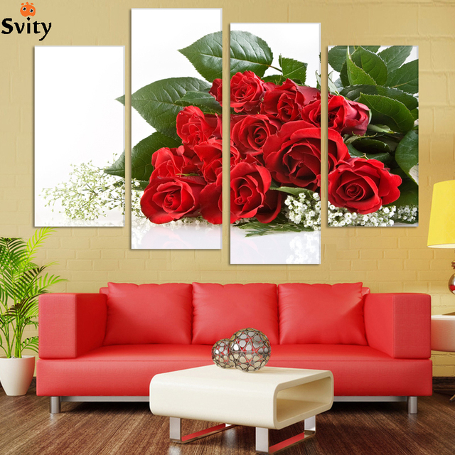 Free shipping 4panel set home decor cuadros wedding decoration as best gift more fresh flowers