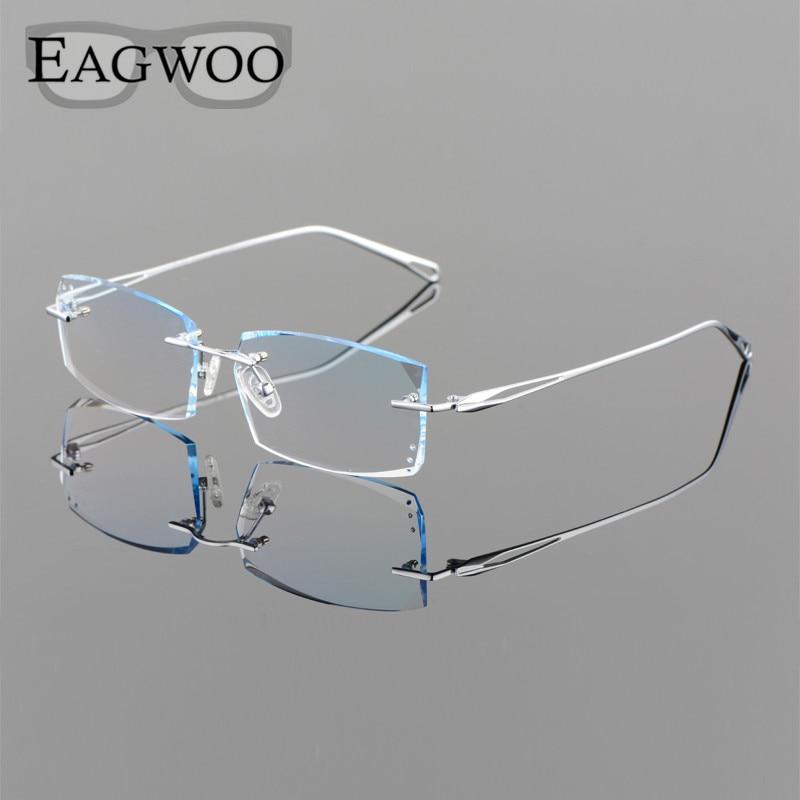 Eagwoo Titanium Eyeglasses Men Rimless Prescription Myopia