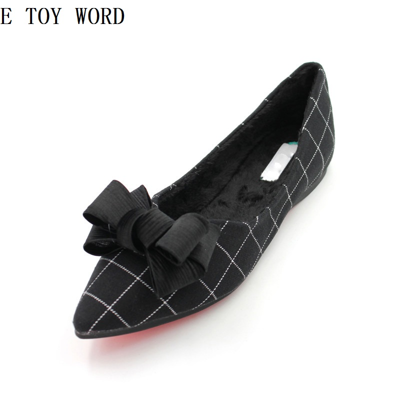 Han edition 2018 spring new joker bowknot gingham cotton soft bottom gourd ladle shoes lady female hair flat shoes han edition spot qiu dong the day han2 ban3 girl gradient fashionable joker knitting wool hat