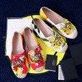 Flores de Bohemia de Las Mujeres Alpargata Plana Del Rhinestone Zapatos de Las Mujeres Mujeres del Diseño de Marca de Los Holgazanes de Vacaciones Tropicales Estilo XWA0309-5