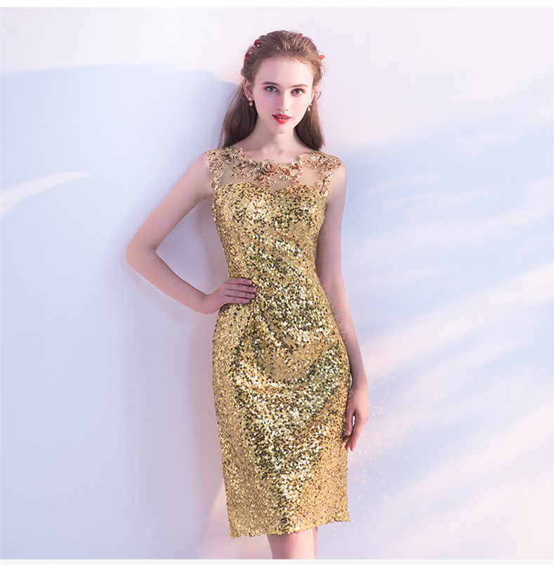 240eb41a16e22 New Gold Sequined Cocktail Dresses Knee Length Straight Embroidery Lace  Flower Beading Elegant Bride Gown Homecoming Party Gown