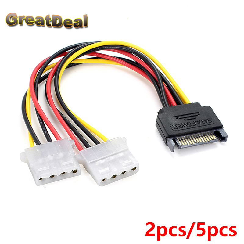 2/5pcs 15 Pin SATA Male to 4 Pin Molex 2 Female IDE HDD Power Hard Drive Cable Adapter HY1104 50cm new power adapter cable 15 pin sata male to dual molex 4 pin ide hdd female