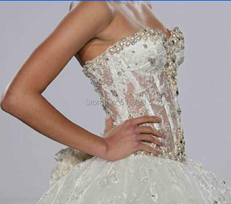 Sexy Durchsichtig Ballkleid Hochzeitskleid schatz spitze Perlen ...