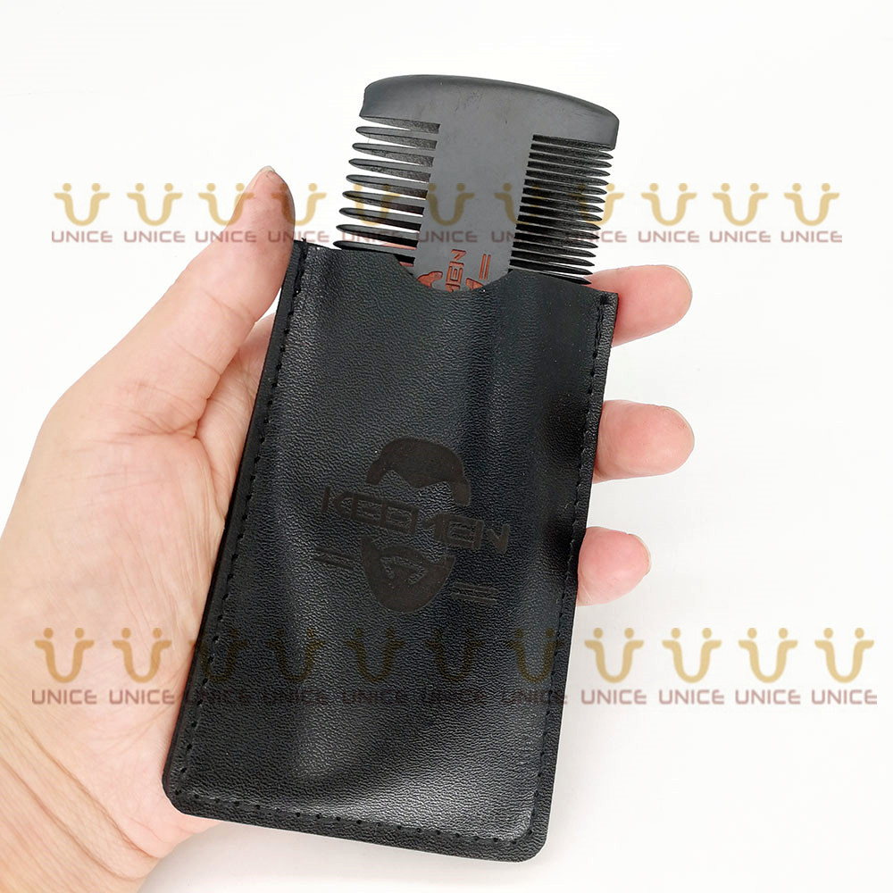 Купить с кэшбэком 100 pcs/lot Dual Sides Fine & Coarse Teeth Black Beard Combs With Leather Case Customized LOGO Two Sides Wood Comb for Men