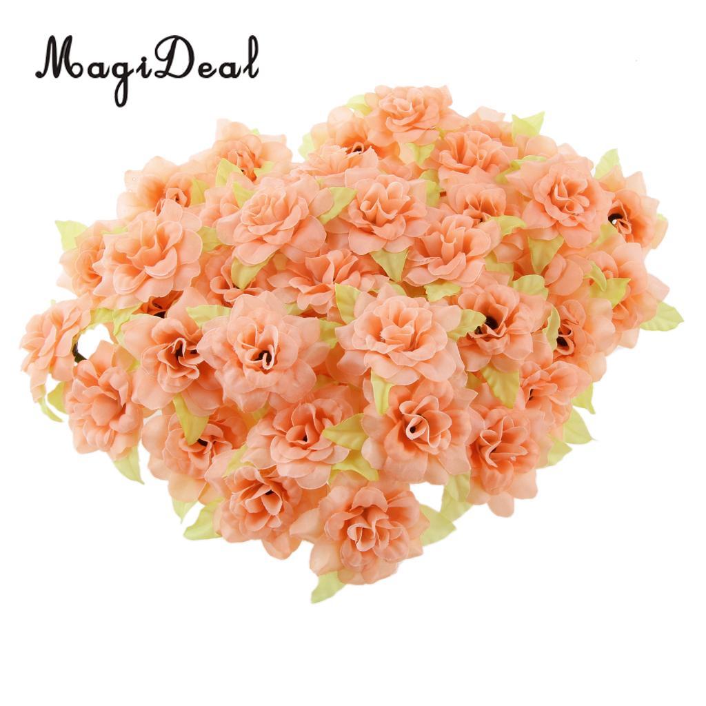 Magideal 50pcs Fake Roses Artificial Silk Flowers Heads Bulk Wedding