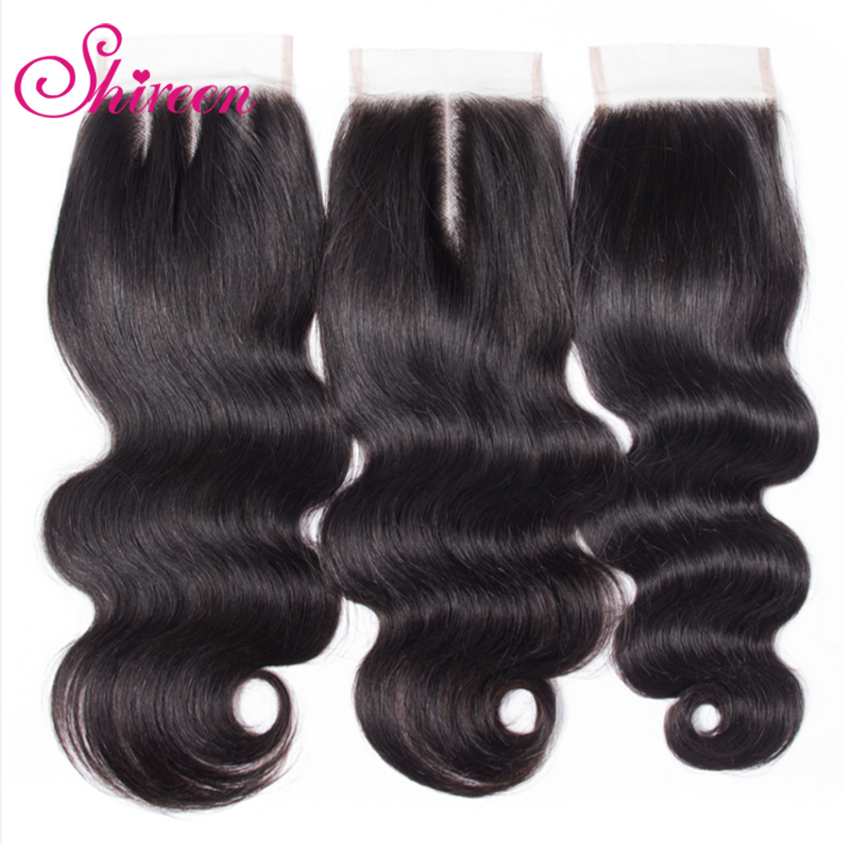 Brazilian Body Wave Lace Closure Natural Color 10 To 22 Inch 4*4 Middle Free Three Part Swiss Lace Free Shipping Remy Hair