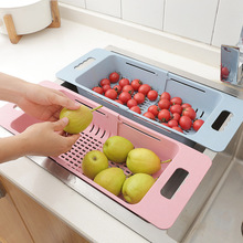 Adjustable Sink Dish Drying Rack Kitchen Organizer Plastic Sink Drain Basket Vegetable Fruit Holder Storage Rack