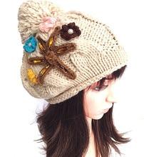 100% ручной работы опрессовка алмаз большой цветок вязаная шапка шапка мода женщины зима теплая шапка