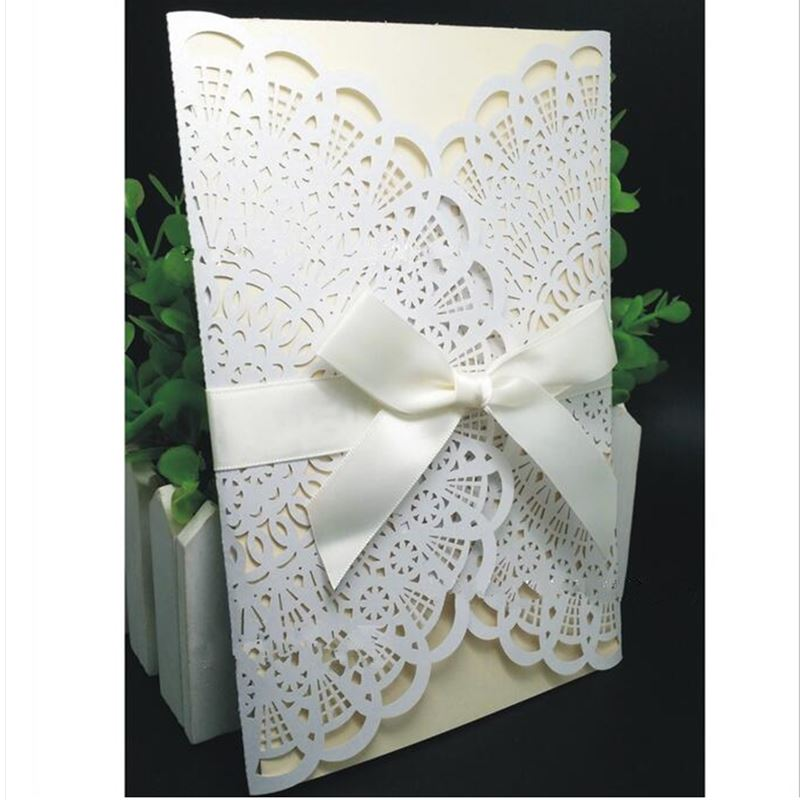 50pcs Delicate Carved Flowers Romantic Wedding Party Invitation ...