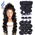 Alicrown Body Wave 3 Bundles With Lace Frontal Closure 13x4 10a Brazillian Body Wave With Closure Ear To Ear Lace Frontal Weave