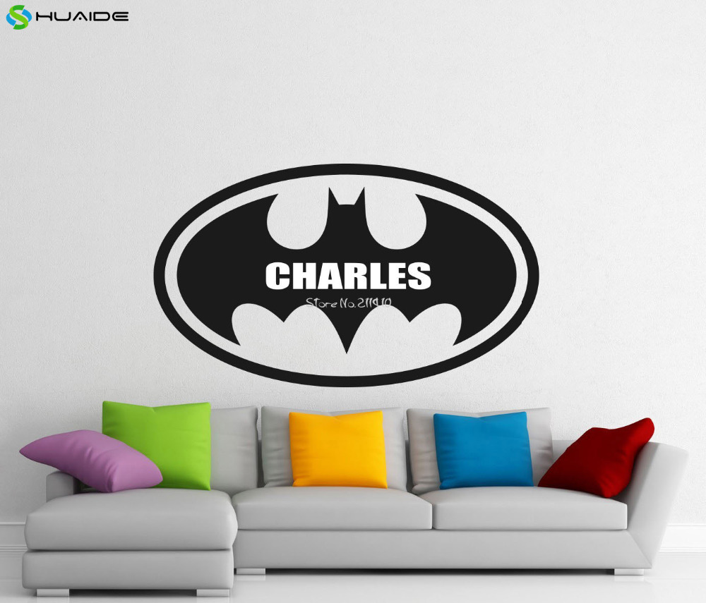 %name%: Personlized Name New Design Batman Logo Wall Stickers For