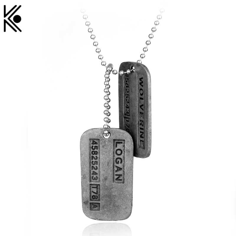 X-Men Logan Army Military Metal Pendant Chain Necklace Statement long Jewelry men's best gift Double pole piece Punk Type