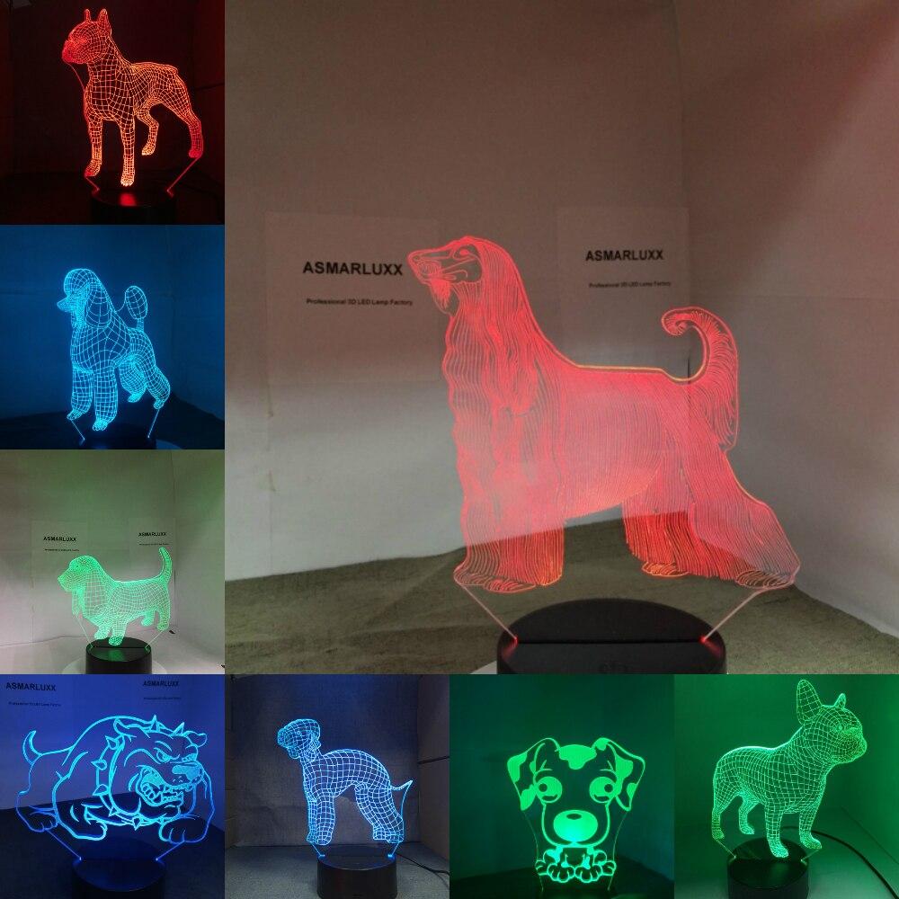 Dog Lamp 3D LED NightLight Bulldog Poodle Rottweiler Afghan Hound Basset Hound Dobermann Labrador Retriever
