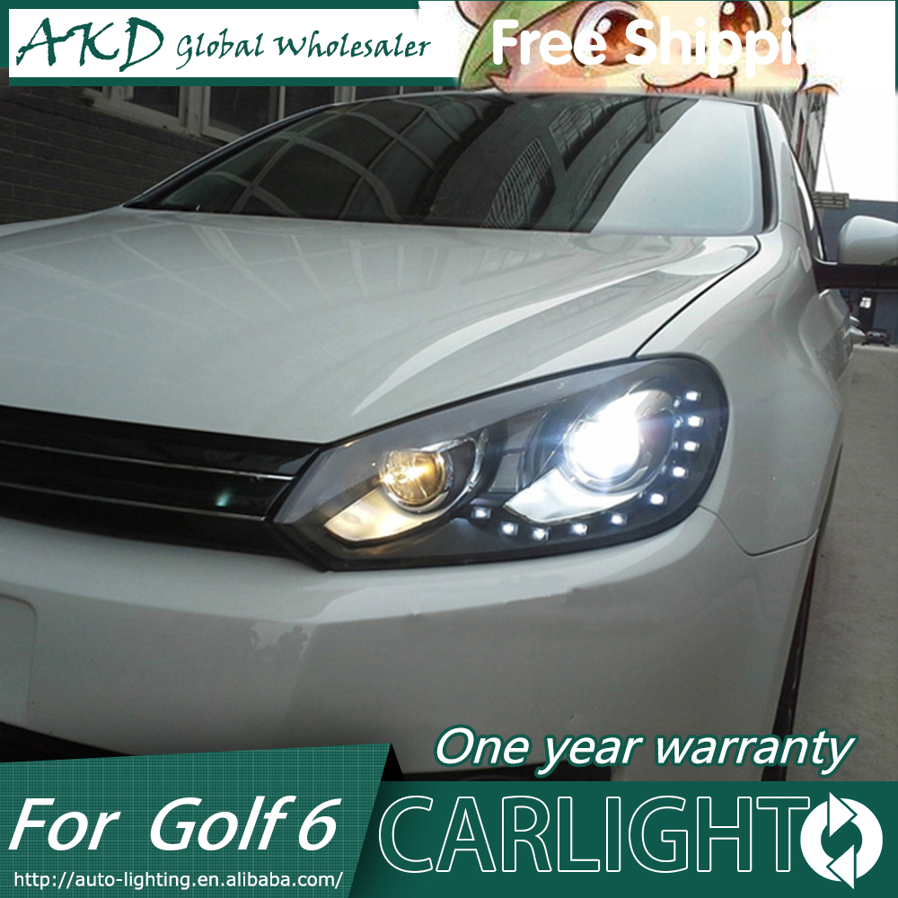 AKD Car Styling Head Lamp for VW Golf 6 Headlights Golf6 LED Headlight Angel Eye DRL LED Signal H7 D2H Hid Option Bi Xenon Beam car usb sd aux adapter digital music changer mp3 converter for skoda octavia 2007 2011 fits select oem radios