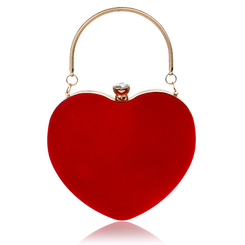 Women Evening Bags Heart Shaped Diamonds Red/Black Chain Shoulder Purse Day Clutches Evening Bags For Party Wedding Banquet Bag стоимость
