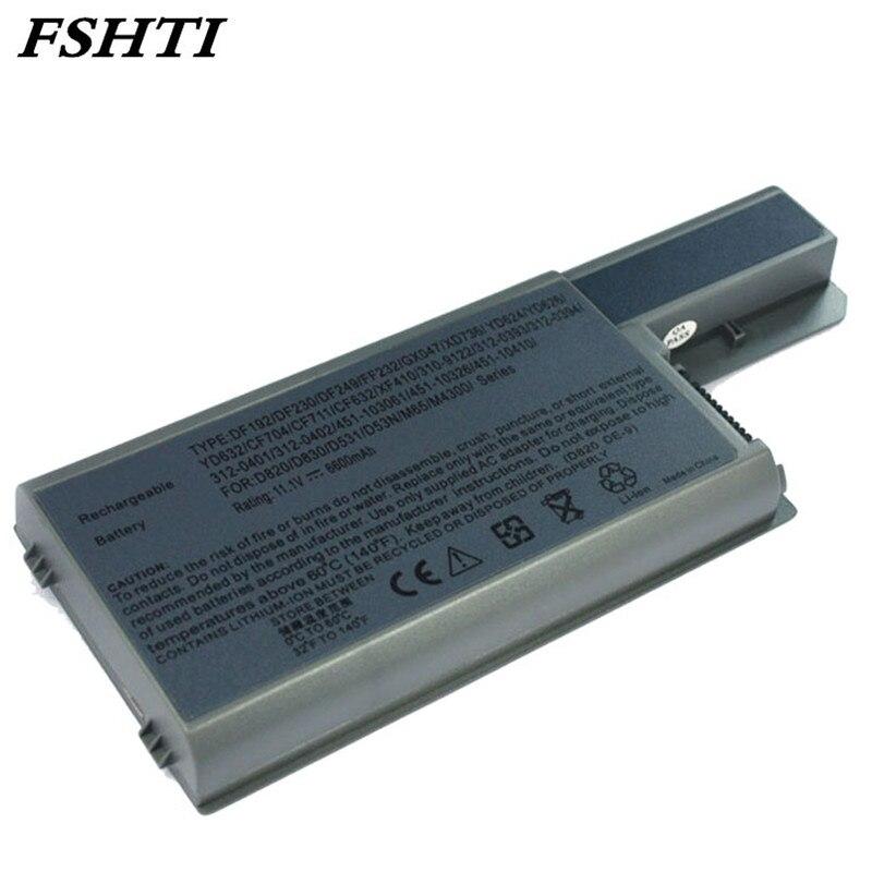 100% Waar 9 Cell 7800 Mah Laptop Batterij Voor Dell Latitude D820 D830 M65 Df192 Cf623 D531 D531n 312-0393 M4300