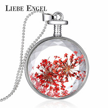 LIEBE ENGEL Fashion Red Dried Flower Necklace Vintage Silver Color Jewelry Glass Statement Necklace for Women Gift Long Collares