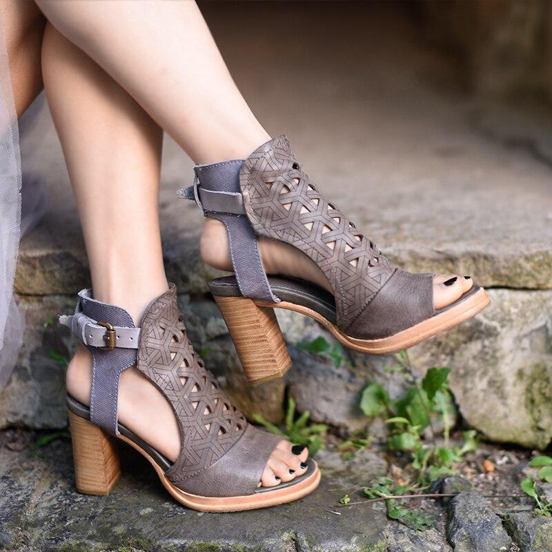 Artmu Fashion super wysokie szpilki 9 cm kobiety sandały buty ręcznie robione sandały z naturalnej skóry buty sukienka zapatos mujer Hollow out w Wysokie obcasy od Buty na AliExpress - 11.11_Double 11Singles' Day 1