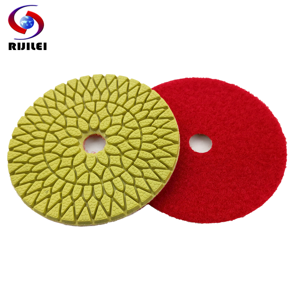 RIJILEI 10 Pcs/lot 4 Steps 100mm Top Marble Polishing Pads 4inch Diamond Polishing Pad Granite Wet Flexible Polishing Pad WPD06