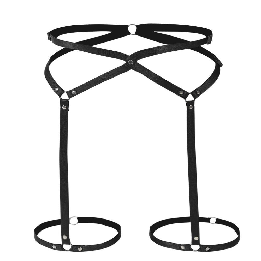 Black Gothic Leg Garter Belt Punk Fetish Leg Harness Sexy Pole Dance Bondage Body Harness Belt Thigh Stockings Garter
