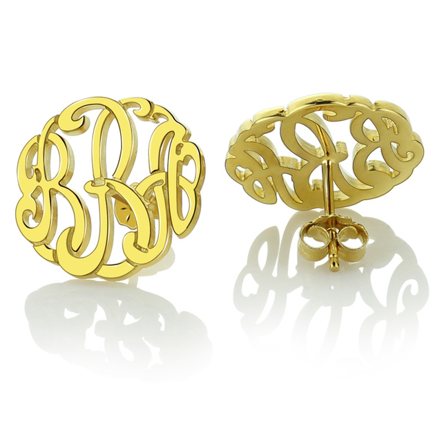 Whole Personalized Gold Color Monogram Stud Earrings Hand Painted Monogrammed Any Initials Initial