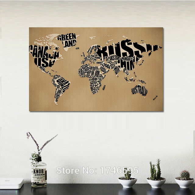 30x20 letters monogram design world map modern home decoration print painting on canvas for living room