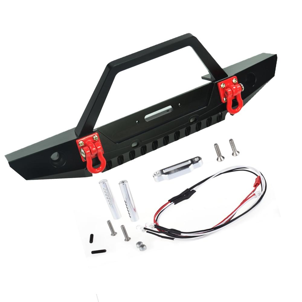 RC 1/10 Metal Front Bumper Bull Bar med LED forlygter Winch Mount - Fjernstyret legetøj