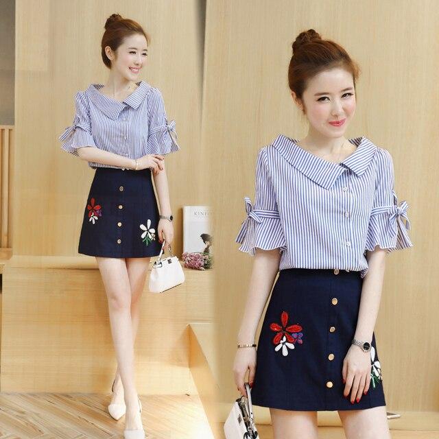 746a86243d A Woman Blouse Skirt Outfit Korea Fashion New Stripe Top Shirt Floral Skirt  Two-Piece Clothing Set Vestidos Brand Size S-XL