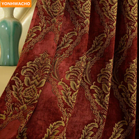 Custom curtains high grade red American chenille jacquard bedroom wedding room cloth blackout curtain tulle valance drapes N975