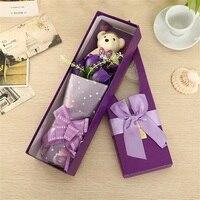 קופסא מתנת פרח סבון ורדים רומנטיים עם בפלאש בעלי החיים צעצועי דובון בובת מתנות יצירתי חג אהבת יום הולדת
