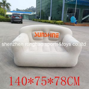 Image 5 - New Design Flocked PVC Inflatable Living Sofa Lounge Air Chair With Cup Holder Indoor Outdoor Double Seat Person Sofas