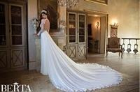 Western Style Plus Size Sexy Mermaid Wedding Dress Gelinlik Berta Long Sleeve Sheer Lace Wedding Dresses 2016 New Fashion(BTB02)