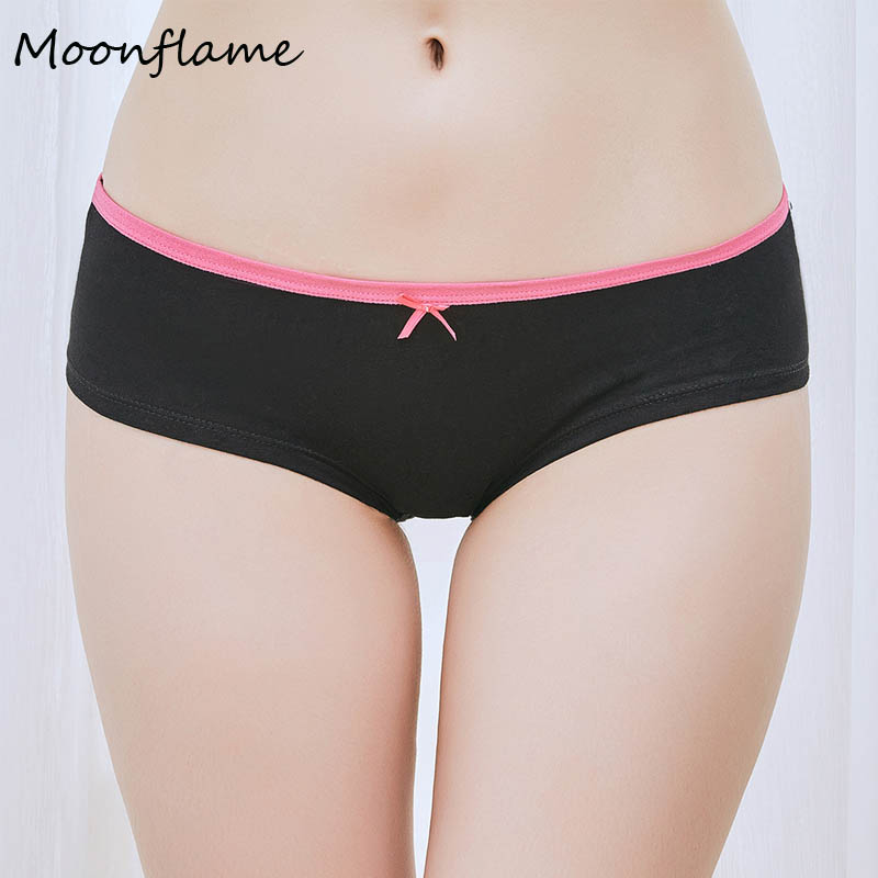 Moonflme 1 pcs/lots Cotton 6 Solid Color Hipster Cotton Womens Underwear   Panties   89059