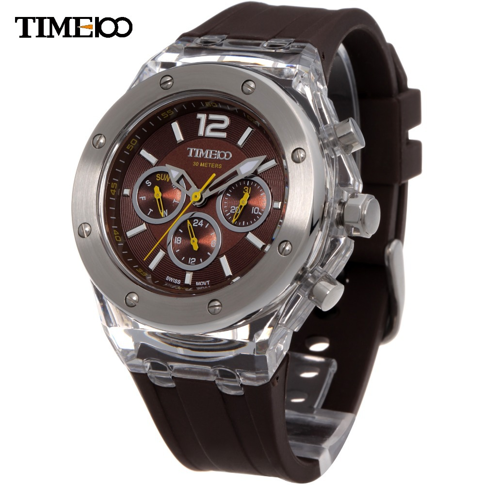 ФОТО Free Shipping Time100 Luxury Brand Multifunction Silicone Strap Metal Dial Sport Couple Quartz Wrist Watches For Men W70034G.02A