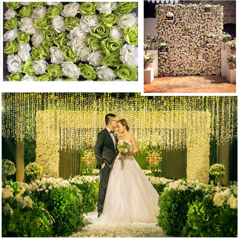 Wholesale 30pcs/lot Artificial silk rose flower wall wedding background lawn/pillar flower road lead home market decorations