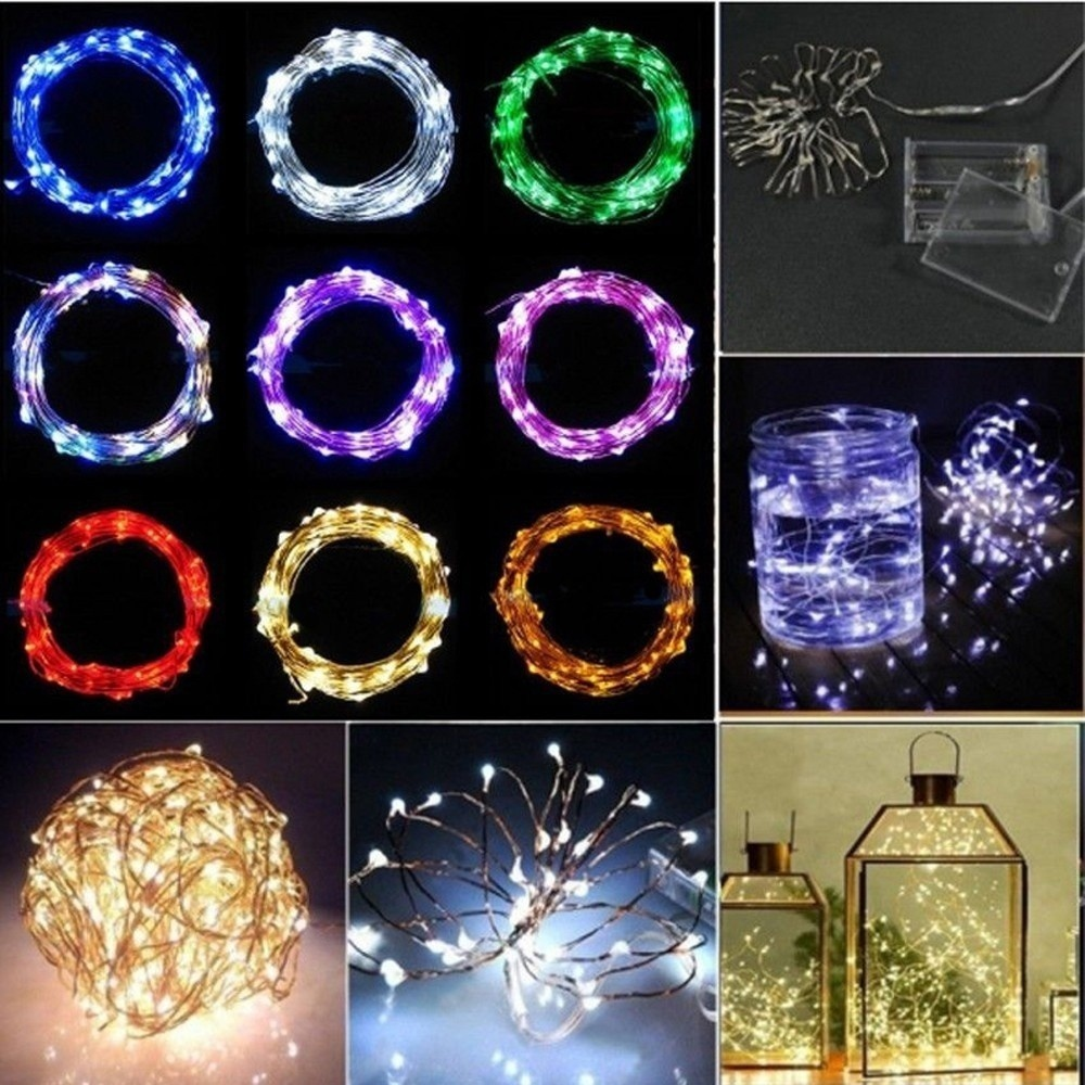 HENYNET Party Shiny Fairy Lights String 2M 20LED Decoration Battery Operated Copper Wire(3M,4M,5M,10M)