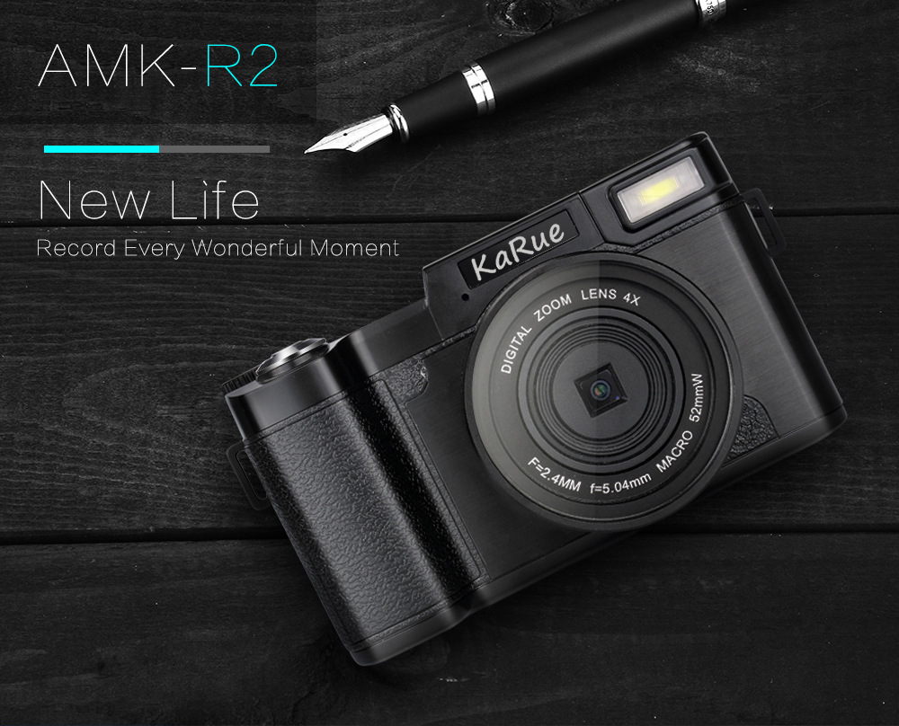 KaRue 1080P AMK-R2 24MP HD Digital SLR Camera Camcorder+Macro Lens Recording 4x Zoom 3.0