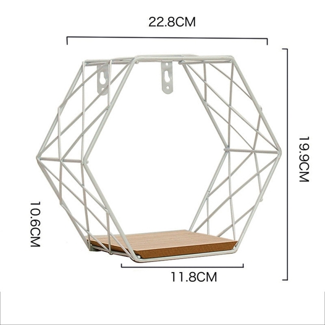 Nordic Iron Hexagonal Grid Wall Floating Shelf Combination Wall Hanging Geometric Figure Wall Decoration For Living Room Bedroom 3