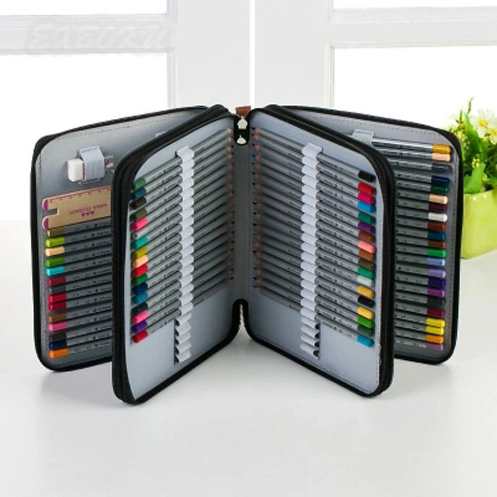 120 Holder 4 Layer Portable PU Leather School Pencils Case Large Capacity Pencil Bag For Colored Pencils Watercolor Art Supplies 120 holder 4 layer portable pu leather school pencils case large capacity pencil bag for colored pencils watercolor art supplies