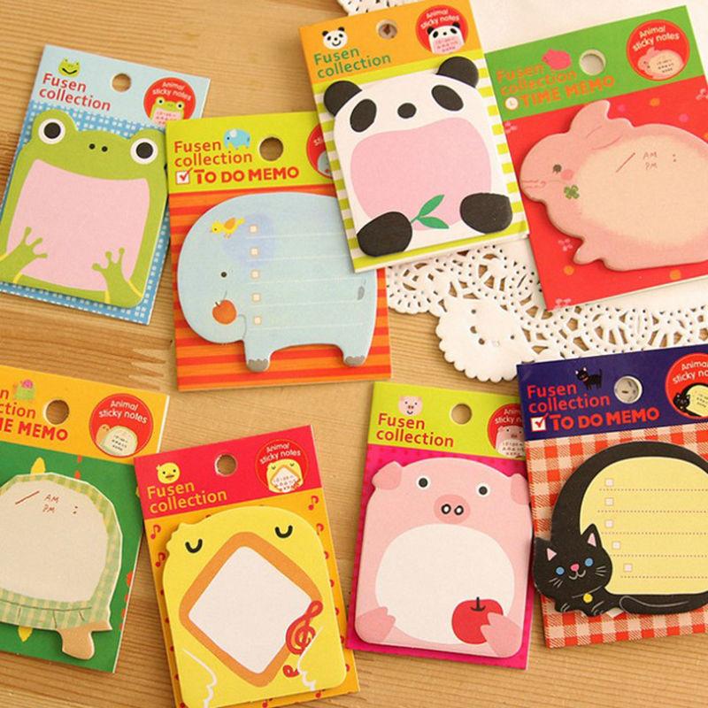 JUGAL Animal Panda Pig Rabbit Tortoise Sticky Notes Sticky N Stickers Memo Stationery 100pcs / lot