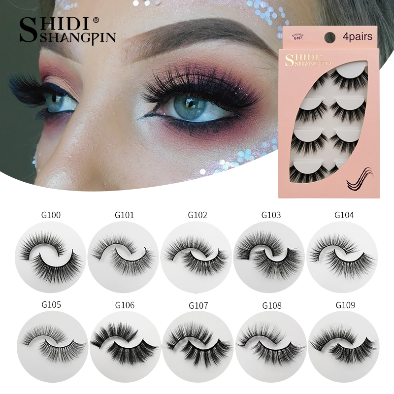 SHIDISHANGPIN 4 Pairs Mink Eyelashes 3D Mink Lashes Fake Eyelashes Natural 3d False Lashes Cilios Faux Mink Lashes Faux Cils