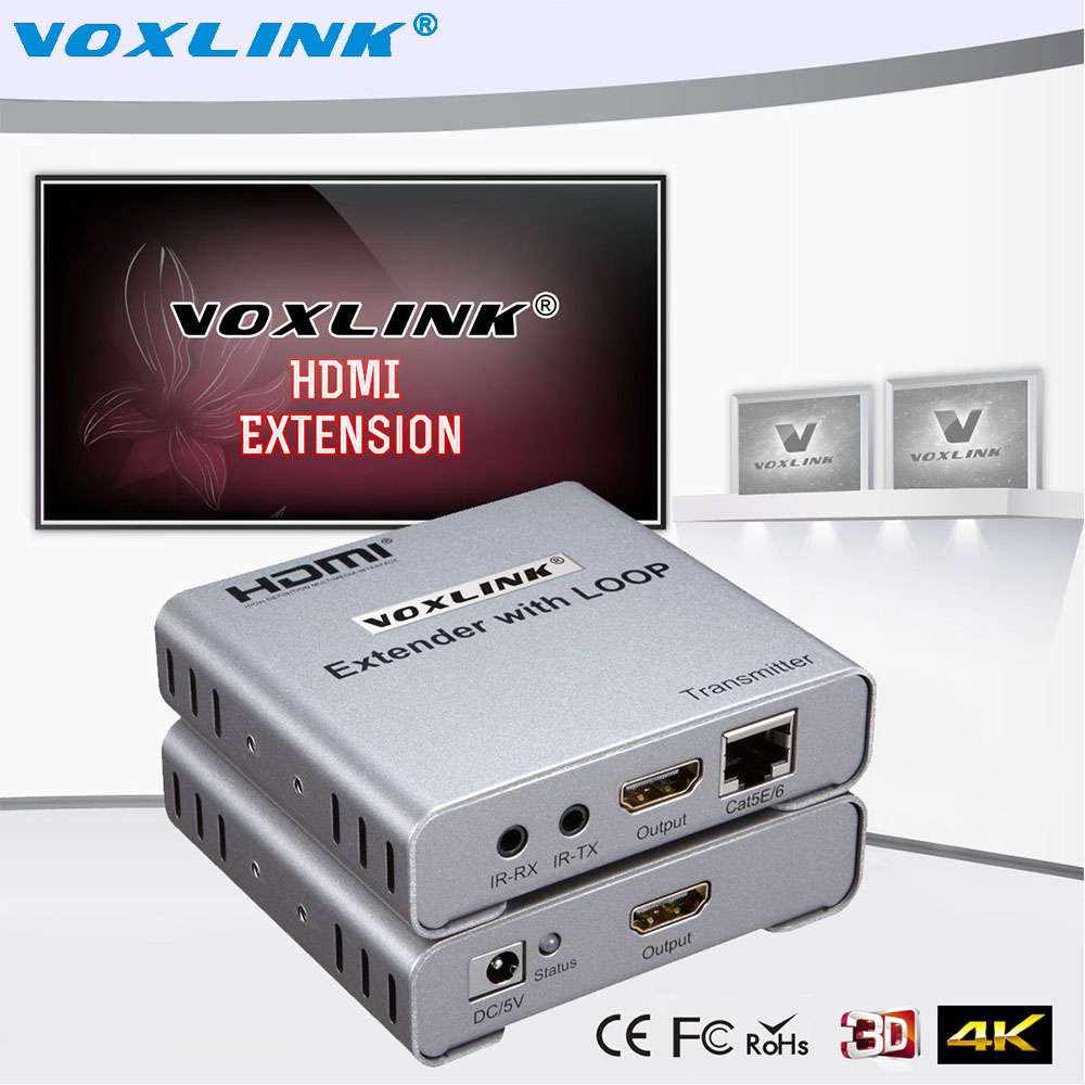 VOXLINK HDMI V1.4 1080P HDMI Extender with Loop-Out Up to 50m Over Single Cat5E/6 Network cable with IR Support DST 3D For HDTV