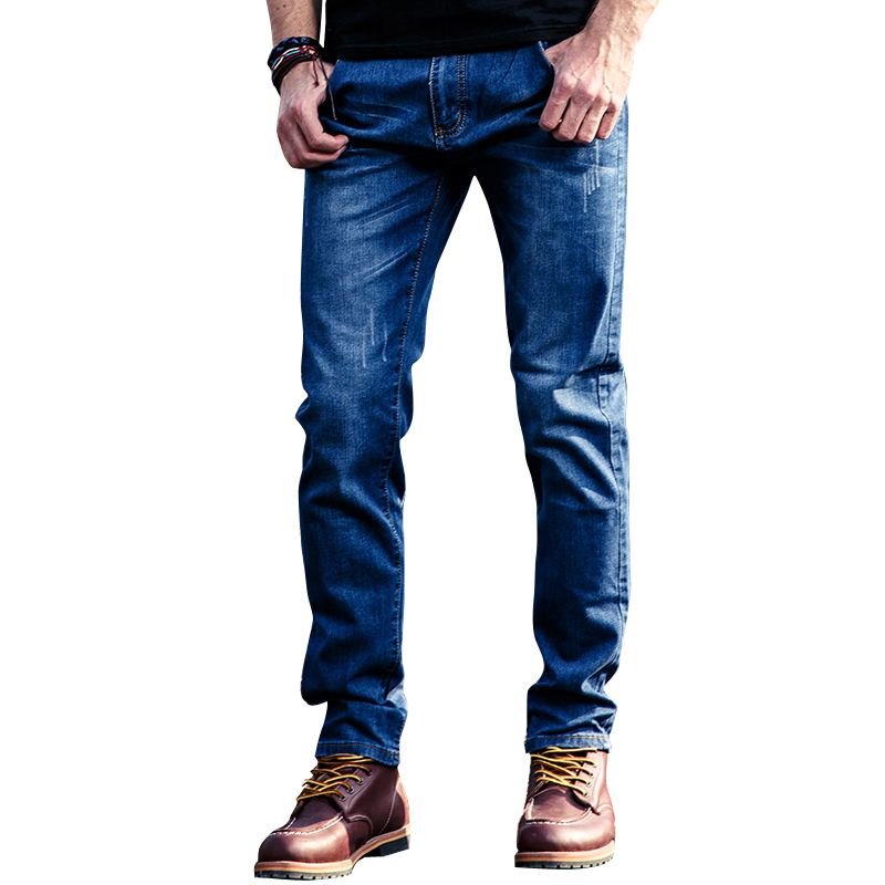 full length Mens fashion stretch denim jeans Slim regular cotton blue color painted straight pants Long trousers23
