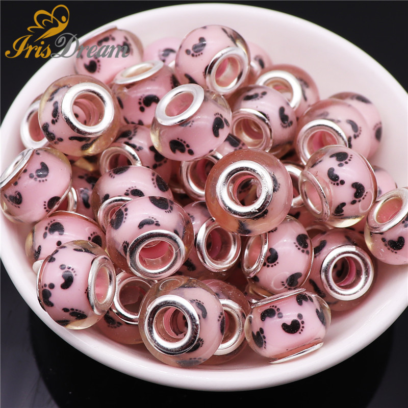 10Pcs Round Footmark Rondelle Beads for Jewelry Making Big Hole European Beads fit Pandora Bracelet Bangle Chain DIY Necklace in Beads from Jewelry Accessories