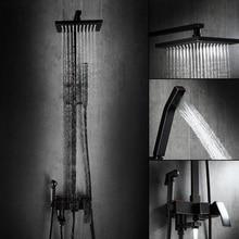AUSWIND классический твердый латунный черный набор для тела для душа квадратный душевой кран для ванны для душа черный матовый аксессуары для ванной комнаты