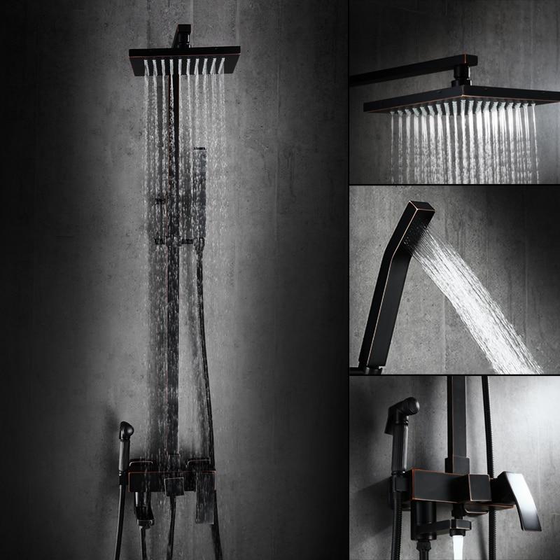 AUSWIND Classical Solid brass black body shower set square shower bath shower faucet black matte bathroom products ручка для тяги на трицепс v образная серьга body solid mb507rg